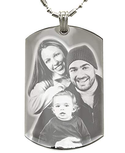 (Personalized Photo Text Dogtags Custom Your Picture Text Necklace Pendant + Free Engraving # Valentine's Mother's Father's Day Gift #)