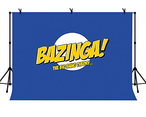 LYLYCTY 7x5ft Bazinga Funny Super Dad Clipart Backdrop Royal Blue Vintage The Big Bang Theory Theme Professional Photography Background LYZY0611