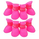 Alfie Pet - Alexis 2 Set of 4 Dog Paw Protection Silicone Boots - Color: Pink, Size: Medium