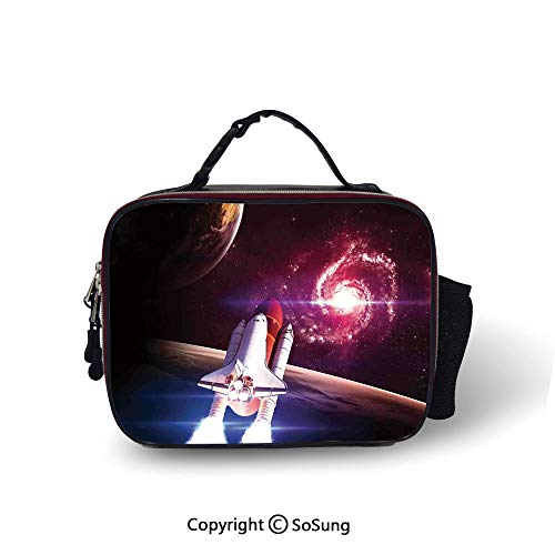 Galaxy Leakproof Reusable Insulated Cooler Lunch Bag Spaceship Flying in Milky Way Super Galactic Wander with Galaxy and Planets Art Picnic Hiking Beach Lunch bag,10.6x8.3x3.5 inch,Magenta White