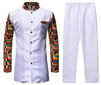 Men 2-Piece Button T-Shirt Printed Stand Collar Casual African Set White XS