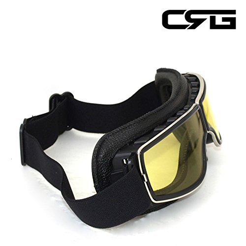 CRG Sports Vintage Aviator Pilot Style Motorcycle Cruiser Scooter Goggle T13 T13BCB - Parent (Yellow Lens Black Padding) by CRG Sports (Image #2)