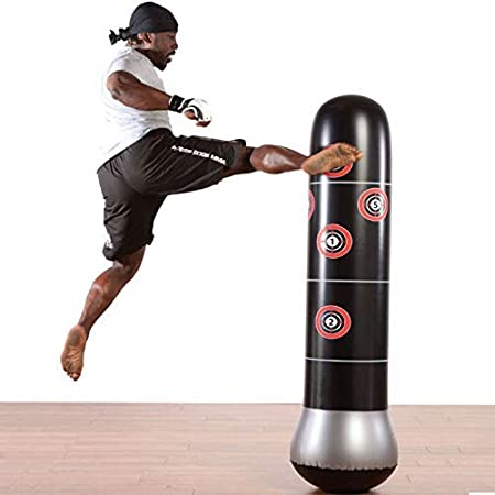 sur Pied Exercices de Boxing MMA Parfait pour Enfants et Adultes Sac Gonflable de Poin/çonnage Tour Sac Colonne de 1.6m Punching Ball JanTeelGO Fitness Sac de Frappe Autonome de Boxe Cible