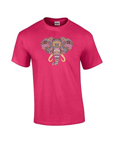 Patternized Colorful Elephant Face T-Shirt-fuschia-4xl ()