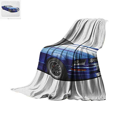 "Teen Room Custom Design Cozy Flannel Blanket American Auto Racing Theme Car Sports Competition Speed Winner Boys Kids Graphic Digital Printing Blanket 60""x36"" Blue Grey"