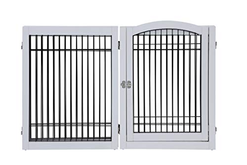unipaws Pet Playpen with 4 Support Feet, 6 Panels Freestanding Dog Gate with Lockable Door, Foldable Stairs Barrier Pet Exercise Pen for Dogs Cats Pets, Safety Fence for Indoor Use by unipaws (Image #5)