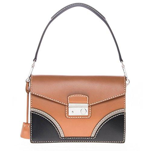 Prada Women's Vachetta Bicolor Shoulder Bag Brown Black