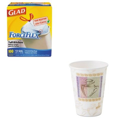 KITCOX70427DXE5338CD - Value Kit - Dixie Hot Cups (DXE5338CD) and Glad ForceFlex Tall-Kitchen Drawstring Bags (COX70427)