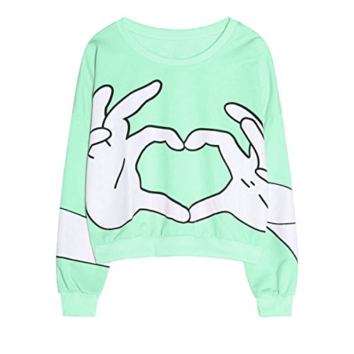 Ancia Girls Teens Cute Sweetshirt Pullover Sweater Long Sleeve(Green)