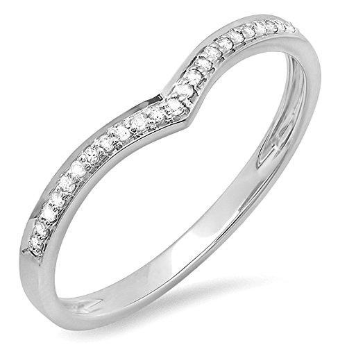 0.08 Carat (ctw) 14K Gold Round White Diamond Ladies Wedding Stackable Band Chevron Ring