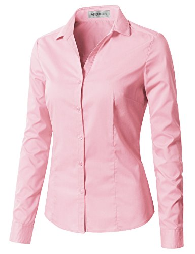 - CLOVERY Women's Wrinkle-Free Long-Sleeve Slim Fit Button Down Shirt with Plus Size Babypink 2XL