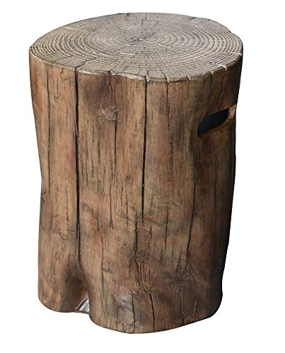 Elementi Manchester Driftwood Propane Tank Cover Fire Pit Accessories Round 19 Inches Concrete Outdoor Side Table Fits Standard 20 Pound Propane Tank Hideaway Table (Table Hideaway)