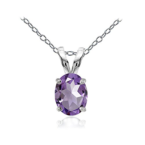 Sterling Silver 8x6mm Oval-cut Genuine, Created or Simulated Birthstone Solitaire Necklace