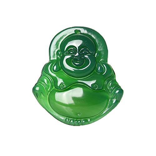 Faraway Imperial Green Jade Buddha Bead Pendant Natural Hand-Carved Chinese Jade Pendant Green Jade Carved Pendants Necklace