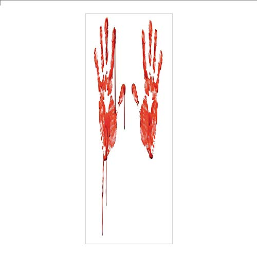 3D Decorative Film Privacy Window Film No Glue,Horror,Handprint Like Wanting Help Halloween Horror Scary Spooky Flowing Blood Themed Print,Red White,for Home&Office -