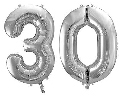 Partylandia Globo Mylar en Forma de Número 30. Plata 86 cm ...