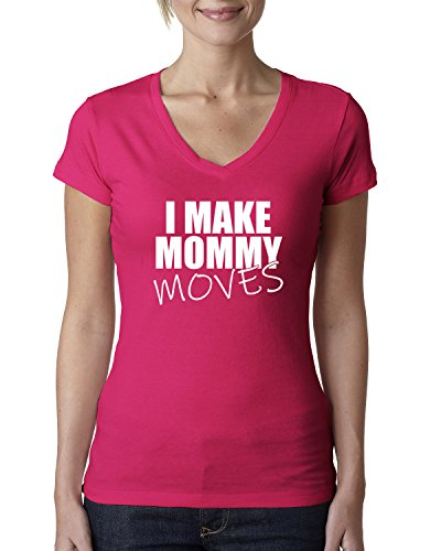 I Make Mommy Moves | Bardi Gang Lyrics | Womens Pop Culture Junior Fit V-Neck Tee, Raspberry, Small