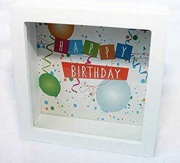 Unbekannt Spardose Rahmen Happy Birthday Holz Und Glas Geburtstag