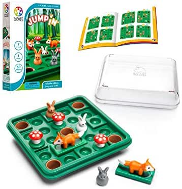 SmartGames Jump in', a Sliding and Hopping Puzzle Travel Game for Kids and Adults, a Cognitive Skill-Building Brain Game - Brain Teaser for Ages 7 & Up, 60 Challenges in Travel-Friendly Case.