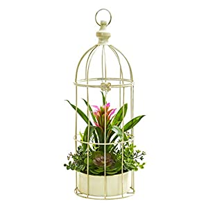 Artificial Flowers -19 Inch Bromeliad Succulent Purple Arrangement-Bird Cage 63