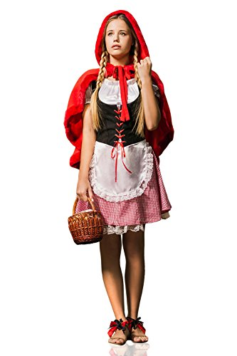 Adult Women Little Red Riding Hood Fairy Tale Costume Cosplay Role Play Dress Up (X-Small/Smal, Red, Black, White) (Little Red Riding Hood Dress Up Ideas)