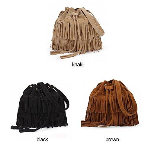 Faux New Handbag Fringe Suede Black Retro Bag Shoulder Shoulder Cross tassels body dqFzcwfU