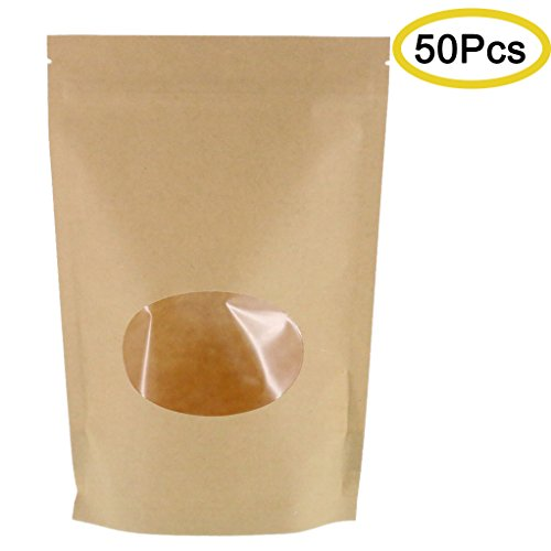 Bags Zip Quality Lock (SumDirect Kraft Paper Bags Zip Lock Stand-up Reusable Sealing Pouches with Transparent Window and Tear Notch for Storing ,Cookie,Dried Foods,Snack,6x8.6 Inches,5.7oz,Pack of 50)