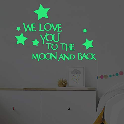 LERTREE Lovely Baby Nursery Wall Decal Words Sticker at Night We Love You to The Moon and Back Wall Sticker Home Decor