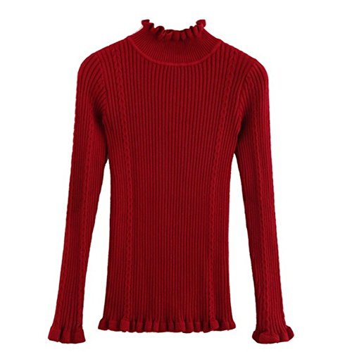 Pullovers Winered Tops Casual Slim Sleeve Solid Sweaters Women Sexy Ladies Turtleneck Elastic Knitted Yalatan Fashion Long xqn6ZCfwxa