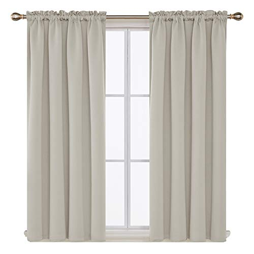 Deconovo Blackout Curtains Room Darkening Drapes and Window Curtains for Nursery 42W x 63L Inch Light Beige 2 Drapes