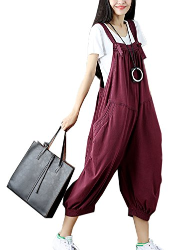 Flygo Women's Loose Baggy Cotton Wide Leg Jumpsuit Rompers Overalls Harem Pants (One Size, Fuchsia)