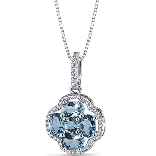 London Blue Topaz Clover Pendant Necklace Sterling Silver 2.25 Carats