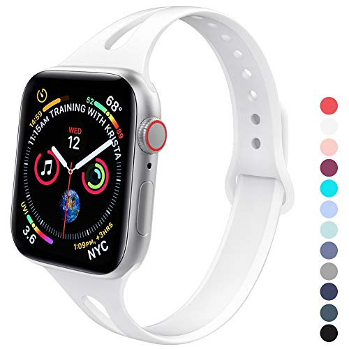 GeekSpark Slim Band Compatible with Apple Watch 38mm 40mm, Soft Silicone Sport Narrow Wristband for iWatch Series 4, Series 3, Series 2, Series 1, Women Men White
