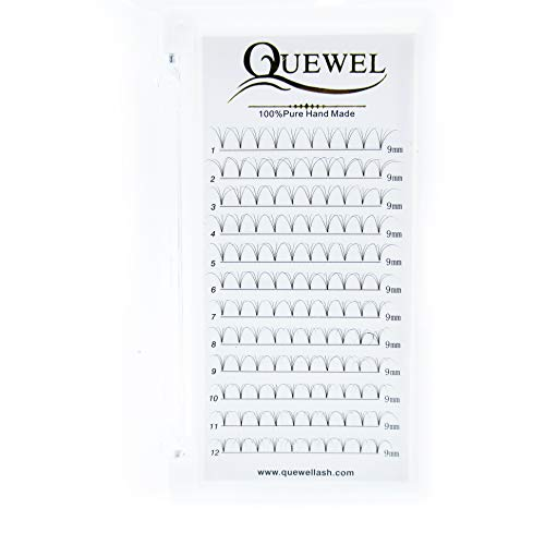 Quewel Lash 4D 0.07mm Thickness D Curl Volume Individual Grafting Eyelashes Extensions 9mm Length Professional Makeup Lashes Natural Black Soft (4D-0.07-D, 9mm)