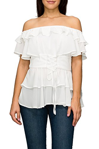 StyleEvery1 Women's Casual Off Shoulder Short Sleeves Ruffled Summer Peplum Blouse (Small, Ivory) ()