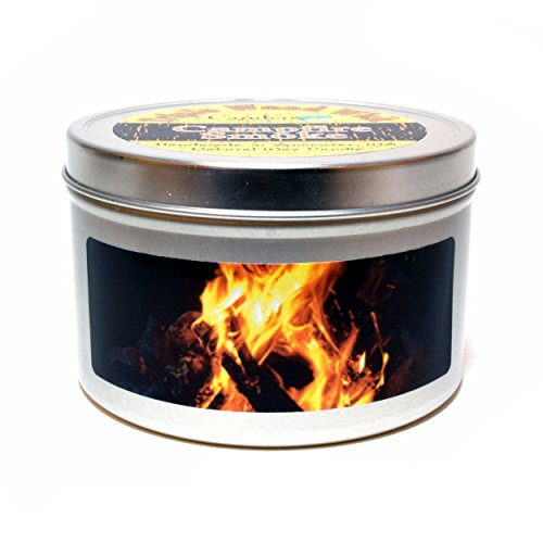 Campfire Smoke 12oz, Triple Wood Wick, Super Scented Soy Candle Tin, Burning Wood Fireplace Candle