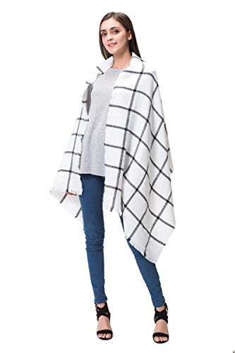 White Plaid Scarf (Lemef Women Stylish Warm Tartan Blanket Scarf Large Gorgeous Plaid Wrap Shawl)