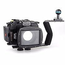 EACHSHOT 40m/130ft Underwater Diving Camera Housing for Sony DSC WX500 + Aluminium Diving handle
