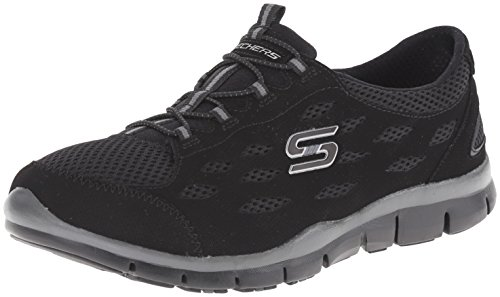 Skechers Sport Women's Gratis Bungee Fashion Sneaker,Black,7.5 M US