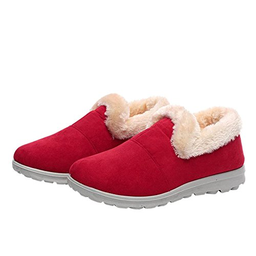 Deylaying Fashion Women Winter Low Top Warm Fur Snow Ankle Boots Sneakers Red edfhna