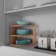 Lavish Home Bamboo Corner Shelf for Kitchen or Bathroom Cabinet Countertop, Cupboard Storage and Organizer, Na