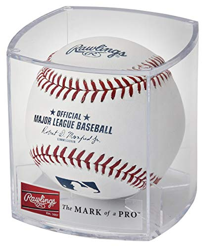 Rawlings Official 2019 MLB Baseball and Display Cube (1 ROMLB-R Ball and Case) - One Ball Display Case