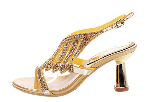Cutouts 03 Stiletto Dress Crystal Heels Slingback Ankle gold Sparkle High Women's Strap Sandals Party pu SAqZUU