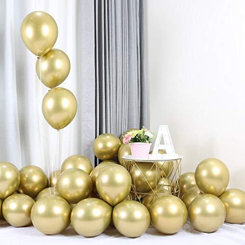 Platinum Balloon - Gold Party Balloons 12inch 50 Pcs Latex Metallic Balloons Birthday Balloons Helium Shiny Balloons Party Decoration Compatible Wedding Birthday Baby Shower Christmas Party - Metallic Gold