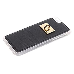 Black Color Scratch Dirt Proof Leather Cover Case With cute Key Chain for Apple iPhone 6