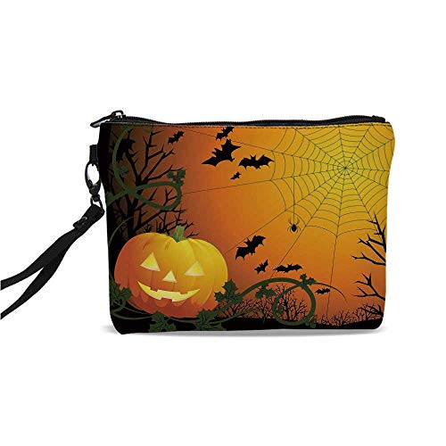 Spider Web Simple Cosmetic Bag,Halloween Themed Composition with Pumpkin Leaves Trees Web and Bats Decorative for Women,9