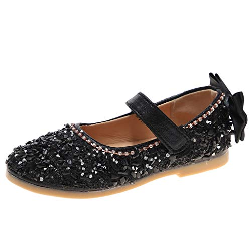(Tantisy ♣↭♣ ToGirls Ballet Flats Shoes Ballerina Jane Mary Wedding Princess Dress Black)