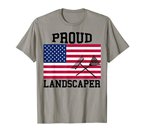Proud Landscaper Patriotic T-Shirt|Landscaping Rake T-Shirt