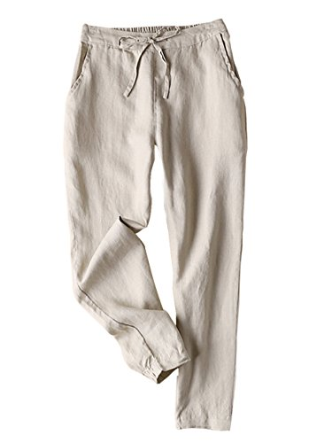 Yimoon Women's 100% Linen Drawstring Back Elastic Waist Tapered Cigarette Pants Trousers (Light Khaki, Large)