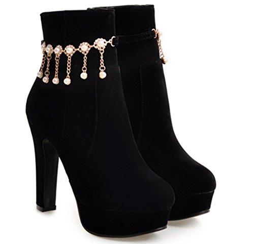 KUKI Herbst und Winter einzelne Stiefel weibliche Stiefel wasserdichte Stiefel High Heels große Stiefel billig Stiefel black